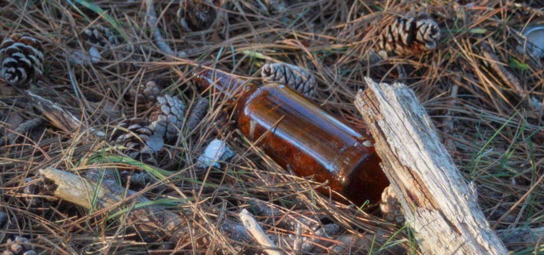 botella en el campo